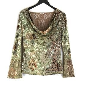 Cache Draped Burnout Velvet Lace Bell Sleeve Top